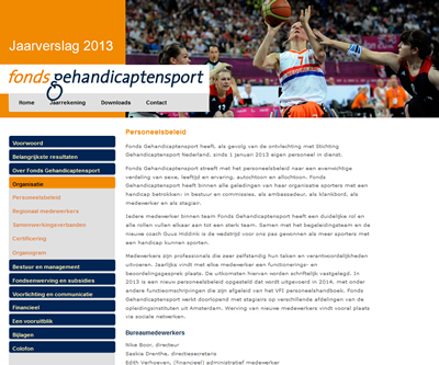 Online jaarverslag 2013 Fonds Gehandicaptensport