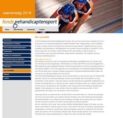 Online jaarverslag 2014 Fonds Gehandicaptensport