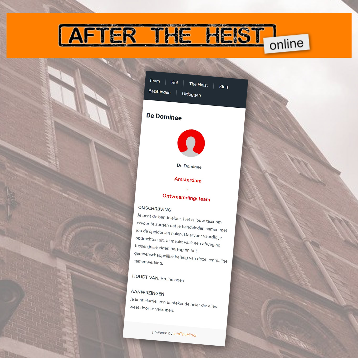 Online real life escape game: After The Heist